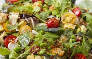 Warm quinoa salad with avocado and edamame beans