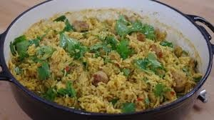 Spicy sausage pilaf
