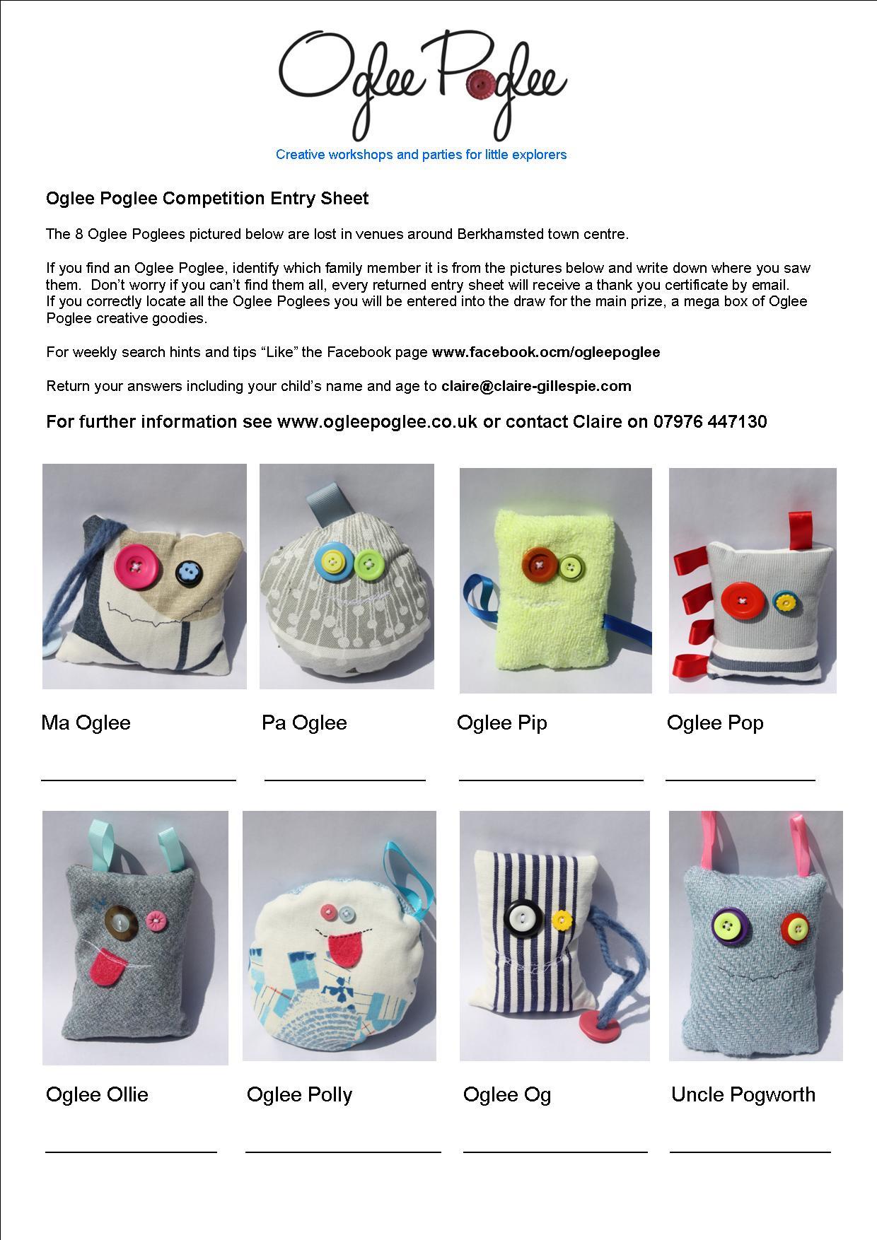 Oglee poglee competition entry sheet