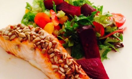 Sticky seeded salmon with satsuma salad