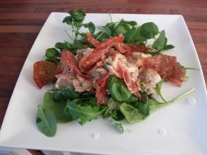 Salmon & Crispy Prosciutto Salad