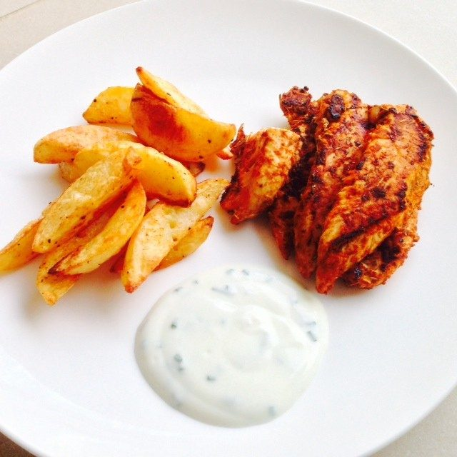 Cajun Spiced Chicken with Potato Wedges and Chive Dip