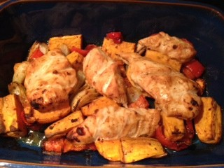 Harissa chicken traybake