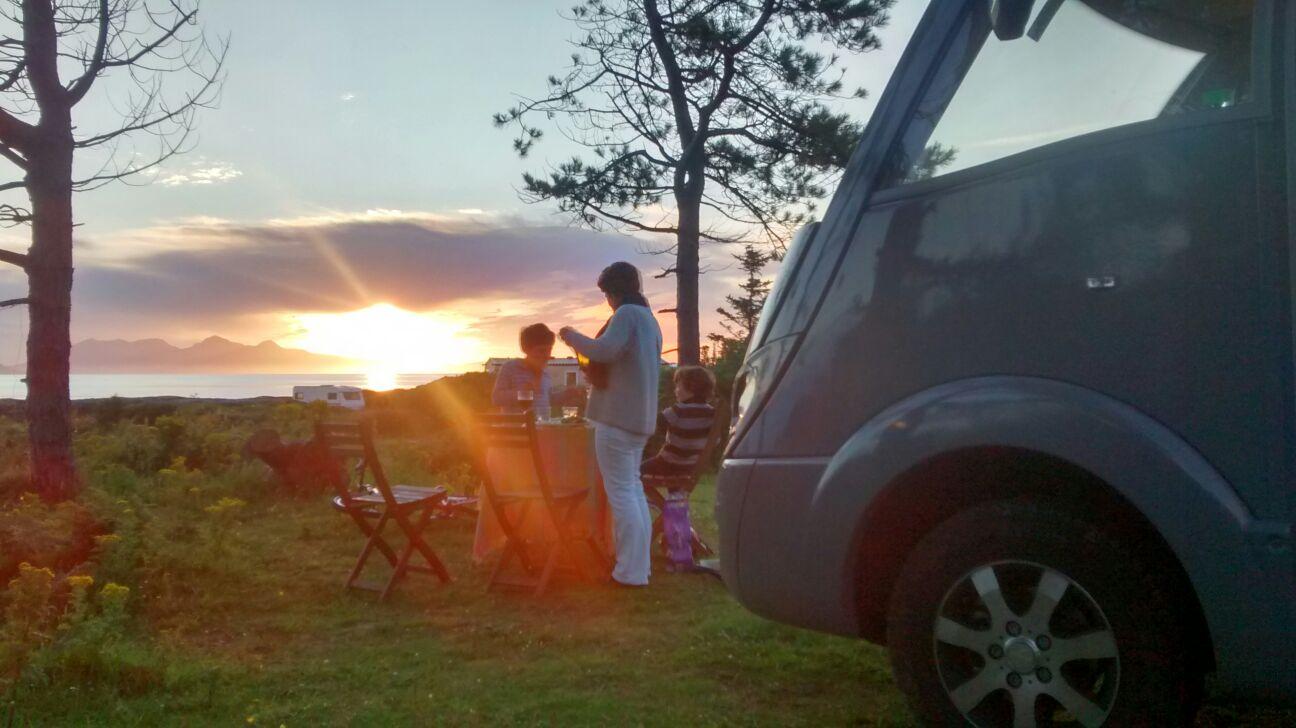 GlamperRV West Coast Scotland Sunset Dining