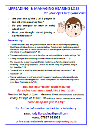 Lipreading and Managing Hearing Loss classes- FREE Taster session