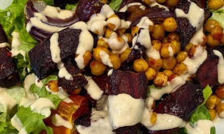 EASY LOCKDOWN LUNCH IDEA: Beetroot & chickpea warm salad with tahini dressing